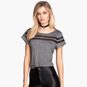 H&M grey shirt with mesh stripe detail